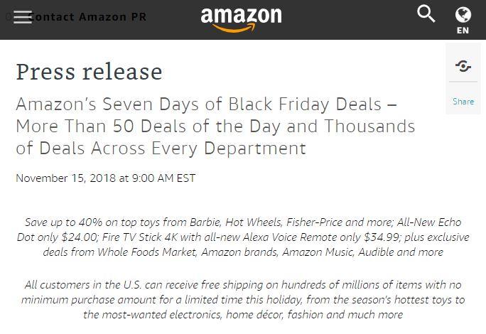 (Amazon 於節慶期間,提供美國消費者無消費金額下限的免費送貨服務。/圖:取自 Amazon Press center)